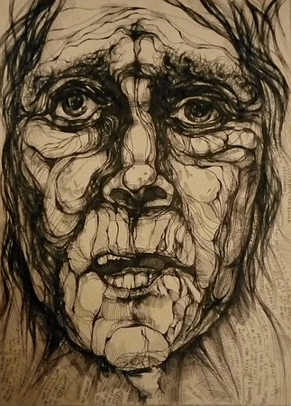 """Agony"" (liquid ink rolling ball pen) by Olga Doronina"