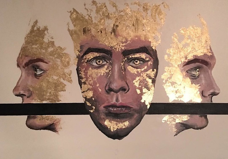 """Golden"" (acrylic, gold foil) by Brandon Lepine"