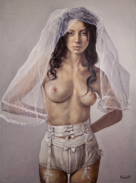 """Veil"" (oil) by Haibin Li"