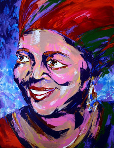 """Cesaria Evora"" (acrylic on canvas) by Evgenii Kizilov"
