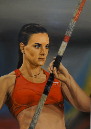 """Before the jump (Russian sportswoman)"" (oil) by Evgeniya Zavialova"