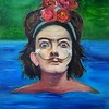 """Salvador Kahlo"" (oil on cardboard) by Daria Zaseda"