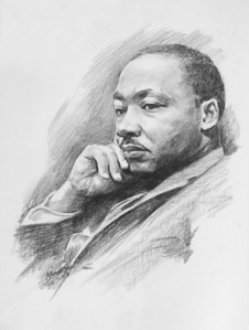 """Portrait of MLK Jr"" (charcoal) by Mei He"