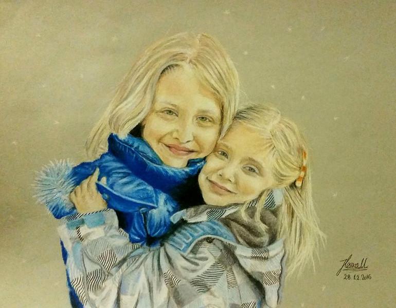 """""""Pure Sister Love"""" (colored pencil) by Marija Iloska"""