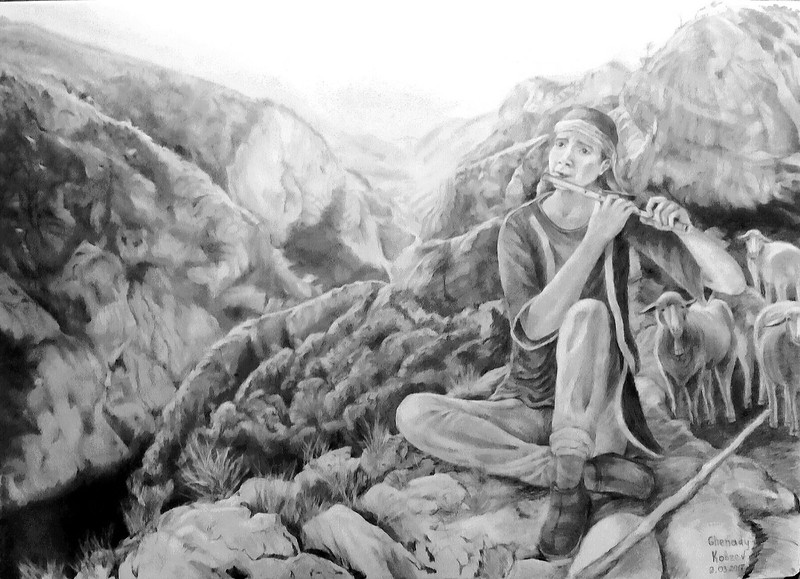 """lonely shepherd"" (pencil) by Ghenady Kobzev"