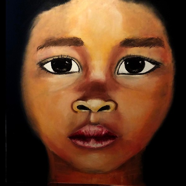 """""""The Story In Their Eyes"""" XI (oil on canvas with spatula) by Virginia Praschnik"""