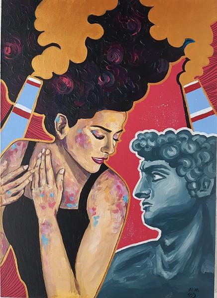 """He and she"" (acrylic on canvas) by Dina Chubukova"
