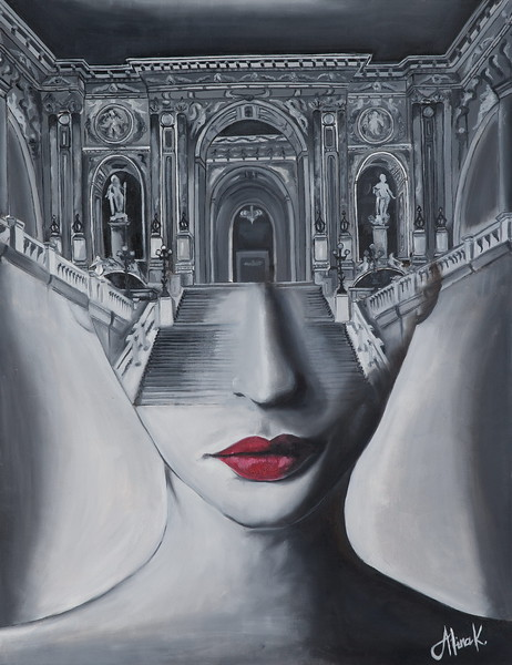 """""""Human World"""" (oil on canvas) by Alina Kaiumova"""