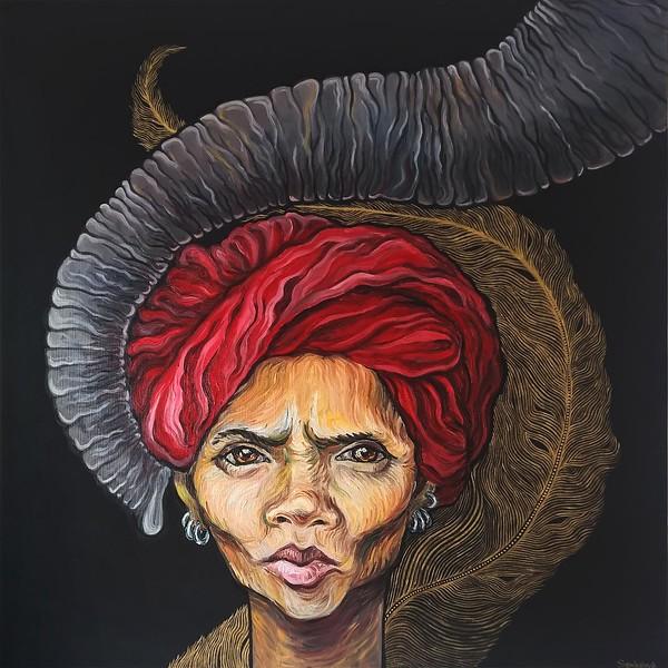 """""""Indian eyes"""" (oil on canvas, golden acrylic) by Sofia Shamhalova"""