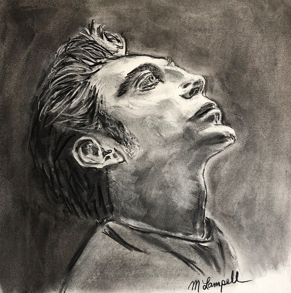 """""""Javier Bardem Pensive"""" (vine charcoal) by Maurice Lampell"""