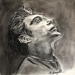 """Javier Bardem Pensive"" (vine charcoal) by Maurice Lampell"