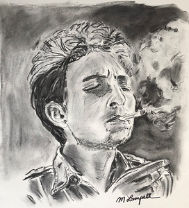 """Bob Dylan Smoking"" (vine charcoal) by Maurice Lampell"