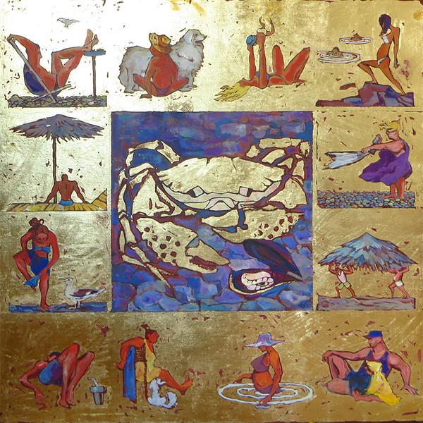 """""""Seafood"""" (oil on canvas, gold leaf) by Mariya Lykova"""