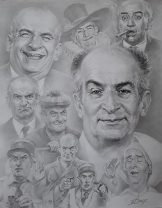 """King of laughter Louis de Funes"" (pencil) by Tatyana Juice"