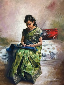 """Sheetal"" (acrylic on canvas) by Lomesh Bodhankar"