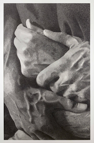"""Holding Father's Hands"" (graphite) by Randall Rogers"