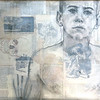 """David"" (charcoal, collage) by Doug Puller"