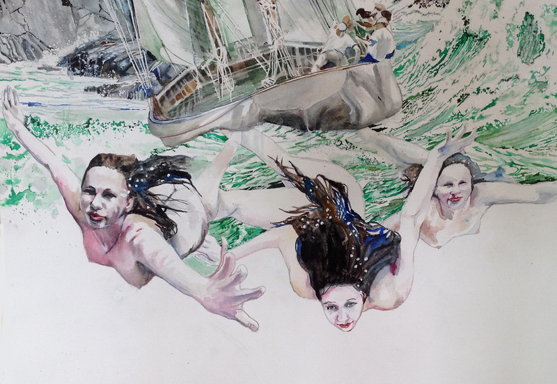"""""""Sirens and waves"""" (watercolor) by Mark Kaufman"""