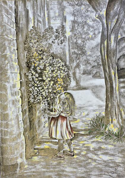 """""""Happiness"""" (pencil, watercolor) by Svitlana Tykhonravova"""