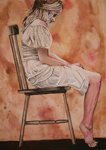 """Young Woman in Chair"" (watercolor) by Mark Kaufman"