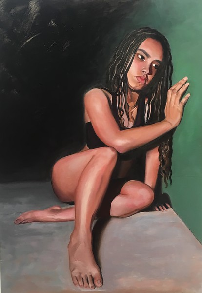 """Contemplation"" (oil on wood) by Katie Erickson"