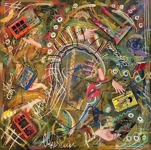 """""""Hesitation"""" (acrylic and mixed media on canvas) by Vivian Antonini"""