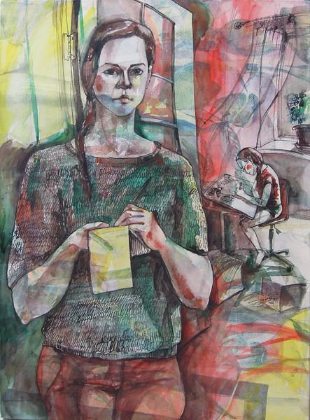 """Me & she - mather & daughter"" (watercolor) by Mariya Zyurkalova"