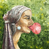 """The girl with the gum"" (oil on canvas) by Inna Vetrova"