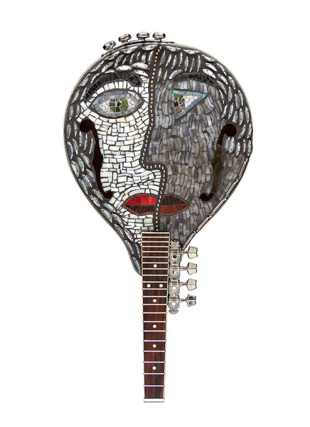 """Two Faced: Homage to Pablo"" (reclaimed mosaics on upcycled mandolin) by Jane Glotzer"