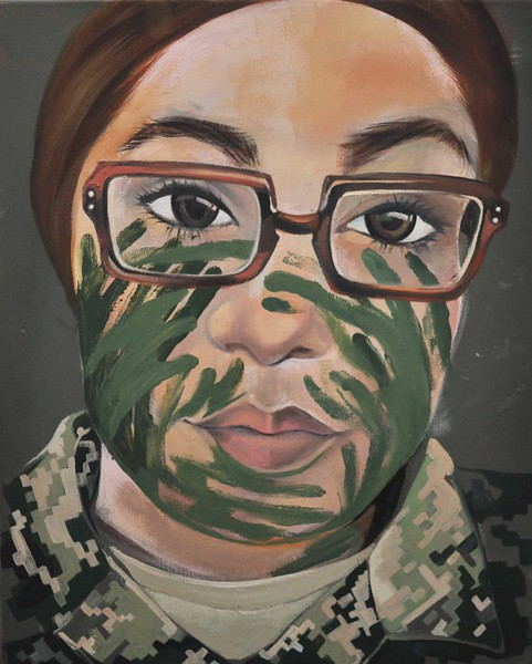 """SSG Morrow"" (acrylic and oil on canvas) by Ida Irby"