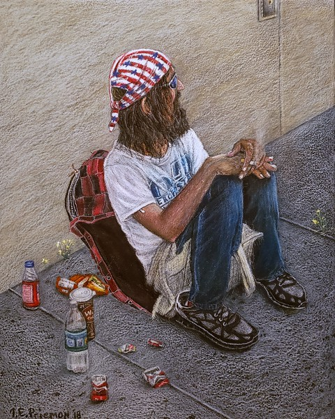 """Homeless in America/ While America Wasn't Looking "" (encaustic) by Thom Priemon"