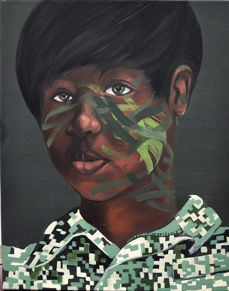 """SSG Calamia"" (acrylic and oil on canvas) by Ida Irby"