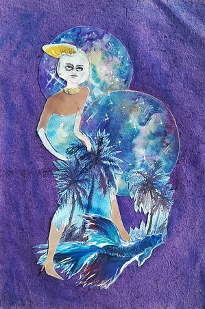 """""""Mindfulness"""" (watercolor, watercolor paper, craft paper, glue) by Anastasia Bunakova"""