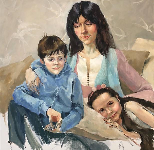"""""""A family"""" (oil and acrylic on canvas) by Nadezhda Boldina"""