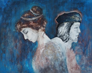 """""""Faces of the past"""" (oil, coal, mixed media on canvas) by Irina Limanova"""