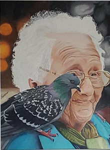 """""""Bird Lady"""" (colored pencil) by Laura Evans Gewanter"""