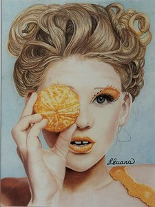 """Orange you glad?"" (colored pencil) by Laura Evans Gewanter"