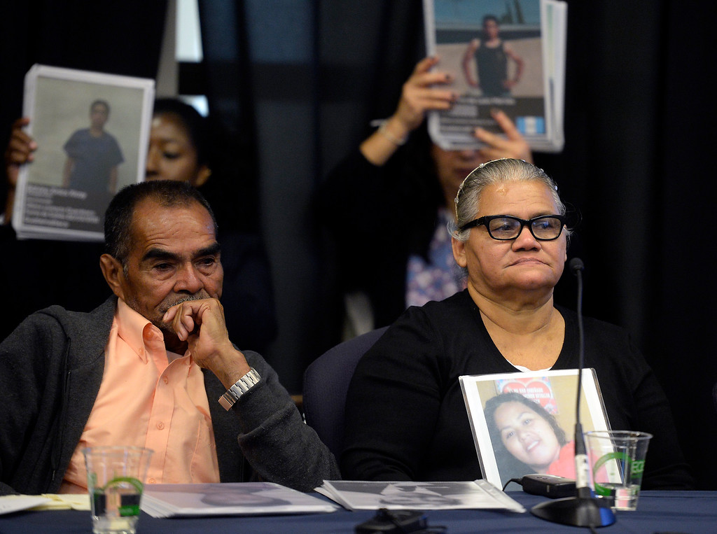 . BOULDER, CO: October 5, 2018:  Parents of one of the lost migrants, Jesus Reyes Leal, left, and Yesenua Mehia Reyes, listen to speakers during the hearing of the Inter-American Commission on Human Rights held a hearing Friday at the Colorado Law School on the University of Colorado Boulder campus to identify the remains of migrants who disappeared along the United States-Mexico border. ((Photo by Cliff Grassmick/Staff Photographer)