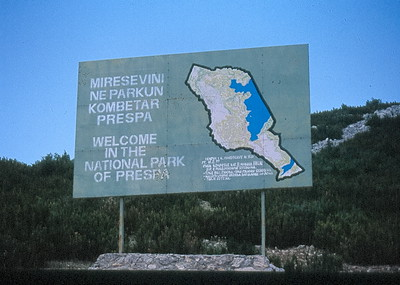 Sign of National Park of Prespa