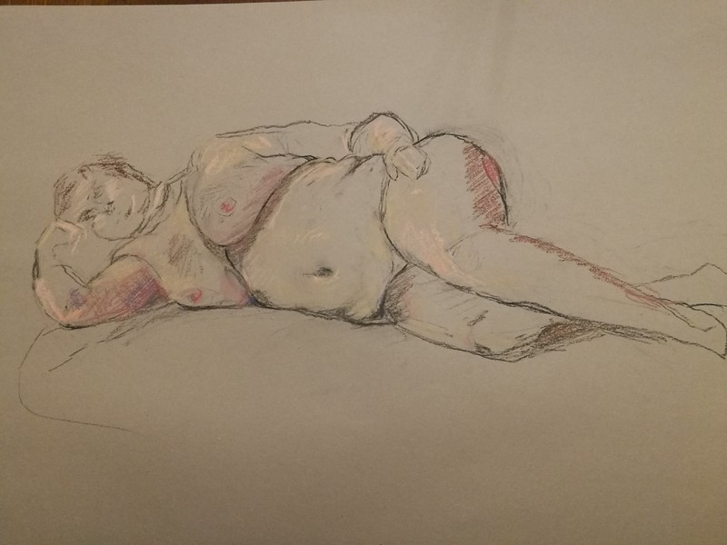 A lie down. Charcoal and pastel on paper.