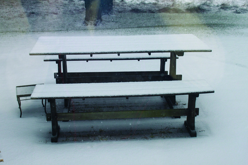 Picnic Table in snow, January 1st, East Hampton (C) 2010