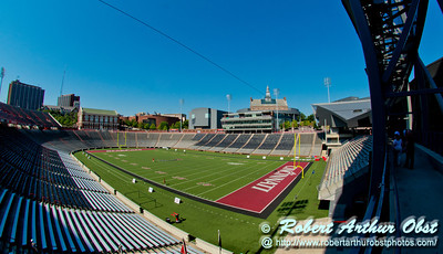 Clear blue skies over the University of Cincinnati's Nippert Stadium and the historic University of Cincinnati campus (USA OH Cincinnati)