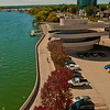 Blue skies and turquoise waters frame Monona Terrace Community and Convention Center along Lake Monona (USA WI Madison; 2012 Nikon D300s Image 3471)