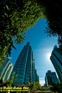 Vegetation and green space layout complements the architecture of many  beautiful Vancouver buildings (CAN BC Vancouver)
