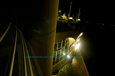 Dramatic Frank Lloyd Wright-inspired Monona Terrace on Lake Monona at night (USA WI Madison)