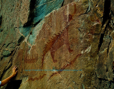 Prehistoric pictographs on Agawa Rock by Lake Superior within Lake Superior Provencial Park (Canada ON Wawa);