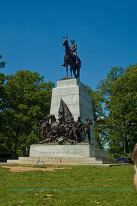 Cerulean skies frame impressive Statue of Robert E. Lee atop the Virginia Memorial at Gettysburg National Military Park (USA PA Gettysburg)