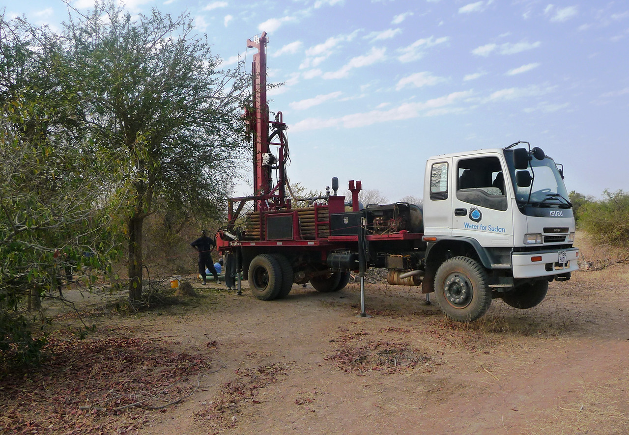 The borehole drill rig arrives.