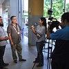 Enrique Galván and Dr. Cris Barrios, an IMAHelps board member and general surgeon from UC Irvine Medical Center, were interviewed by a Paraguayan TV station after Dr. Barrios told Enrique that UC Irvine Medical Center had given preliminary approval to perform his surgery for free as a humanitarian effort in collaboration with IMAHelps.