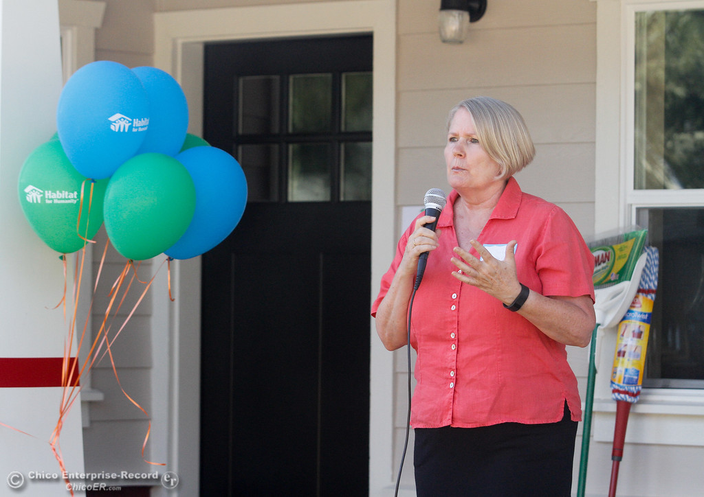 . City of Chico councilwoman Ann Schwab speaks during the Habitat for Humanity of Butte County Home Dedication Ceremony Saturday July 15, 2017 in Chico, California.  (Emily Bertolino -- Enterprise-Record)